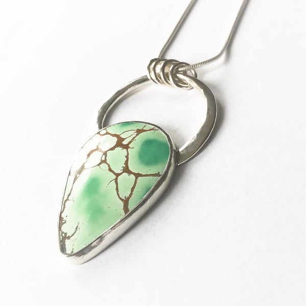 Silver and Green Variscite Circle Necklace