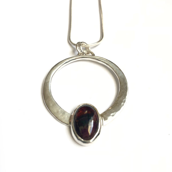 One of a Kind Tourmaline and Silver Large Encircled Pendant