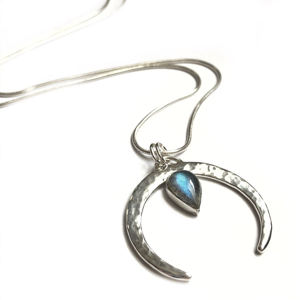 Labradorite and silver crescent shaped pendant