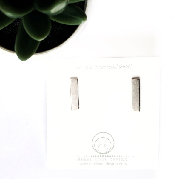 Brushed Satin Finish Bar Stud Earrings