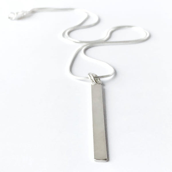 Brushed Satin Finish Long Rectangle Pendant