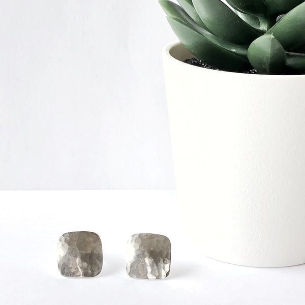 Sterling Silver Square/Diamond Stud Earrings - Hammered Polished Finish