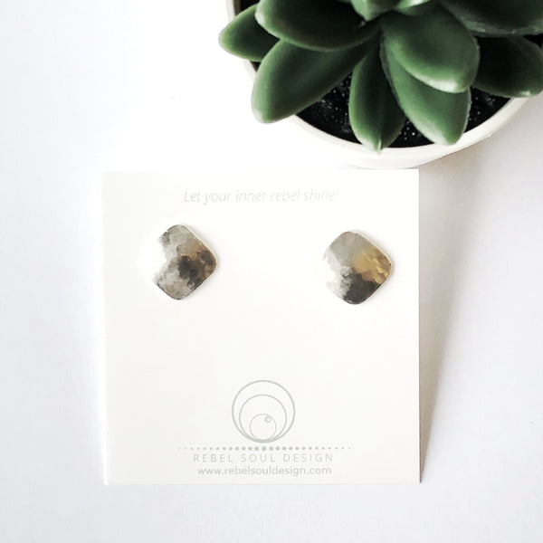 Sterling Silver Square/Diamond Stud Earrings - Brushed Satin Finish