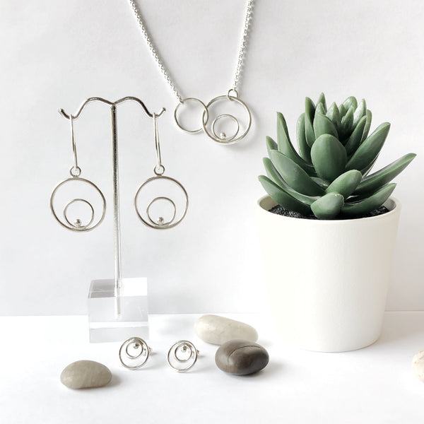 Silver double circle earrings with coordinating necklace