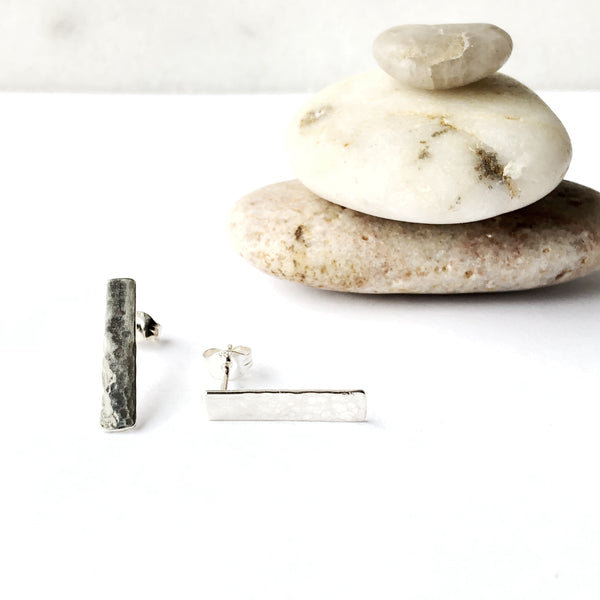 Small rectangle silver stud earrings