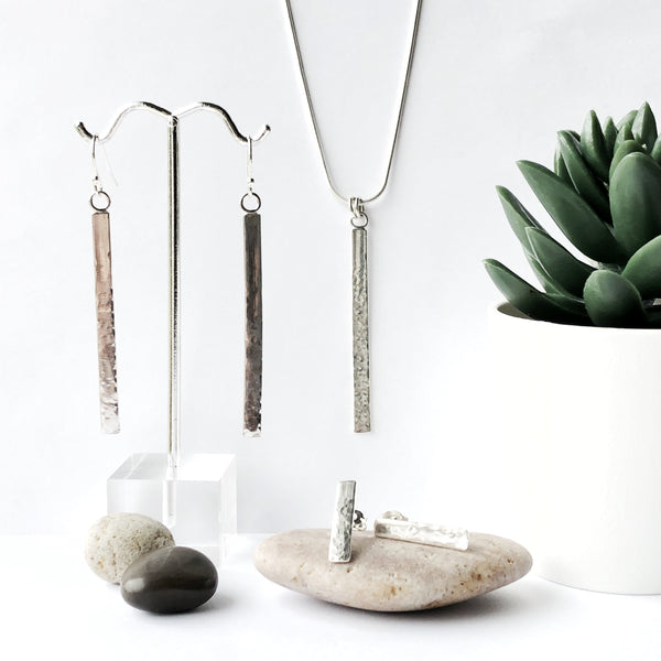 Silver boho chic bar drop pendant and earrings
