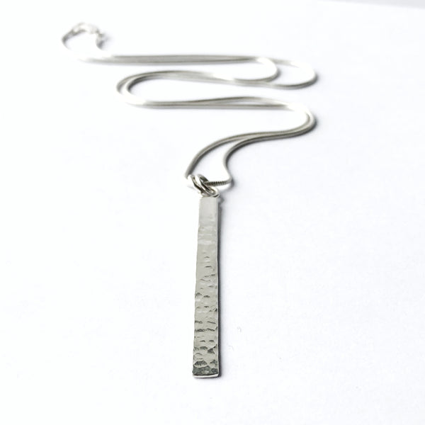 Sterling Silver Hammered Bar Pendant