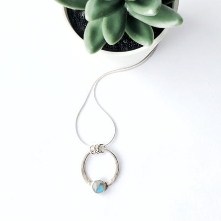 Rainbow Moonstone and Silver Large Encircled Pendant