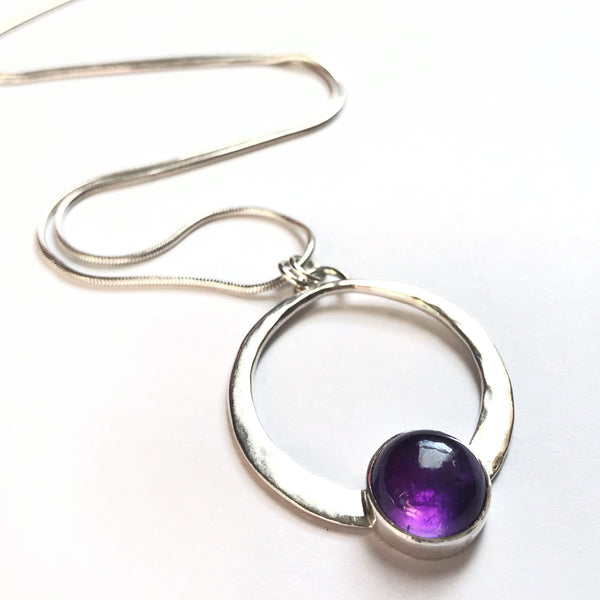 Amethyst and Silver Large Encircled Pendant