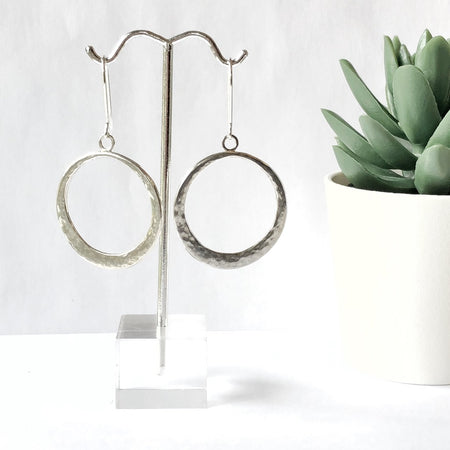 Modern Bohemian Sterling Silver Double Hoop Earrings