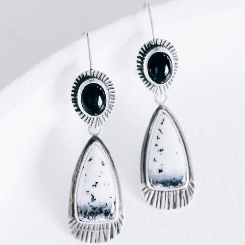 Black Star Diopside and Dendritic Chalcedony Three-Way Convertible Statement Earrings
