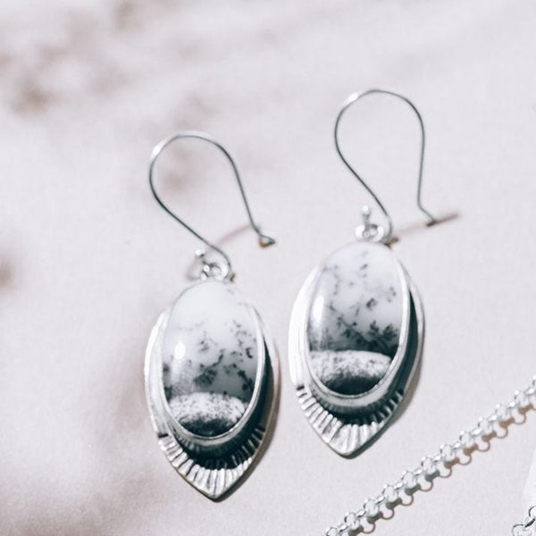Wintery Day Dendritic Chalcedony Drop Earrings