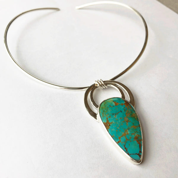 Silver and turquoise boho pendant
