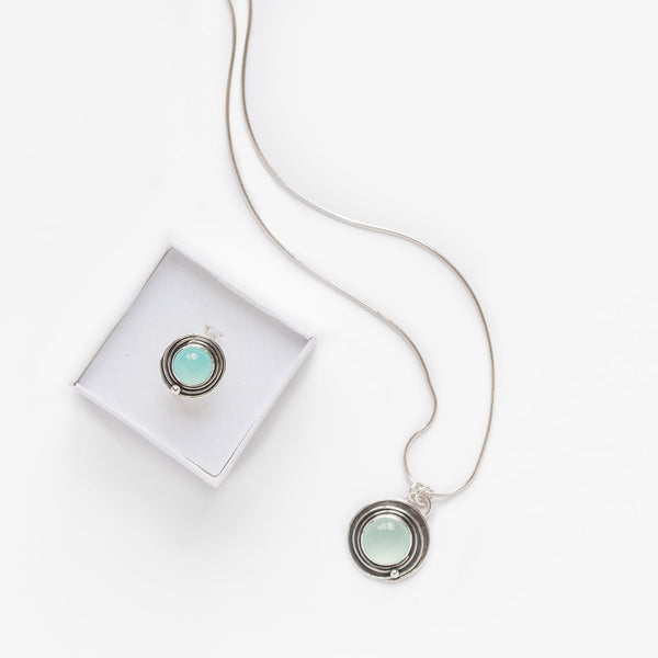 Chalcedony spiral design ring and necklace