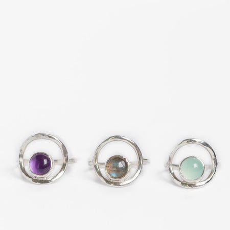 Moonstone or Amethyst and Silver Cocktail Statement Ring