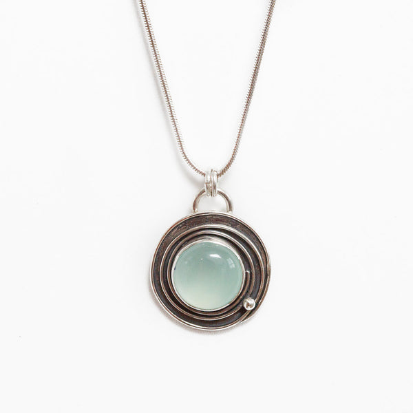 Chalcedony spiral design necklace