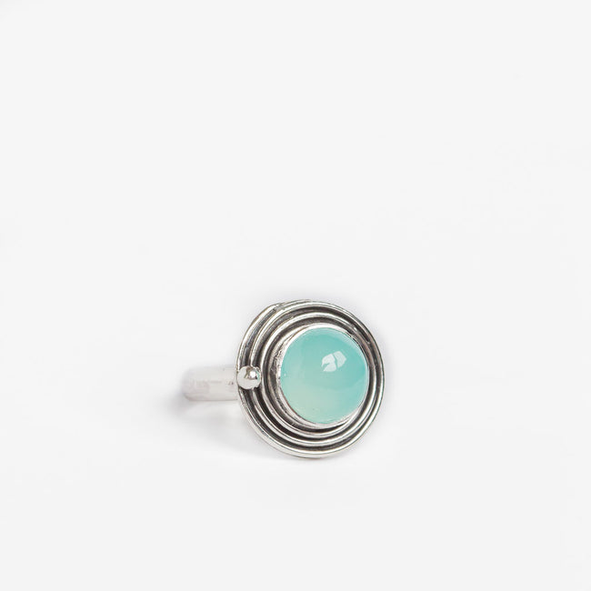 Orbital design chalcedony ring