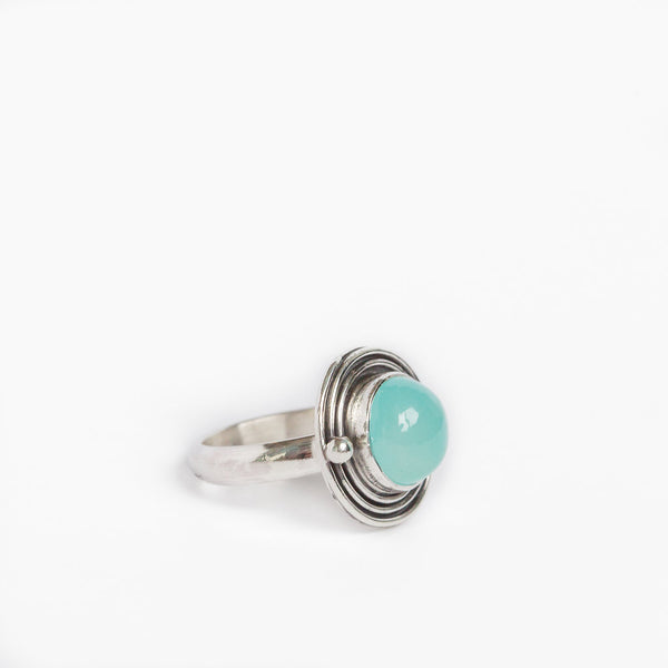 Aqua Chalcedony Orbit Ring