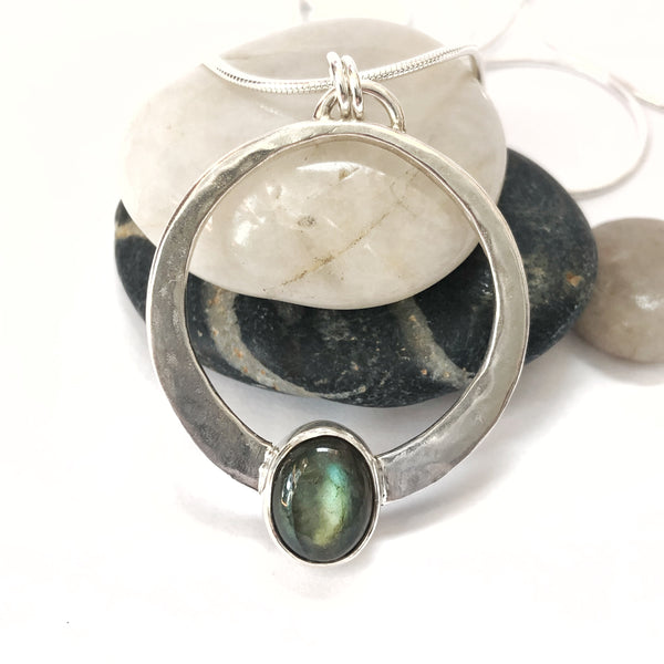 Stormy Seas Labradorite and Silver Large Encircled Pendant