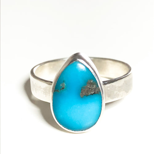 Teardrop Turquoise and Silver Ring - Size 7 1/4