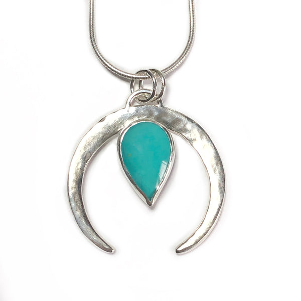 Turquoise and Silver Naja pendant