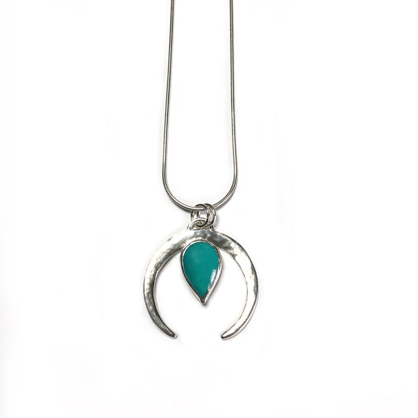 Sterling silver and turquoise crescent pendant on a snake style chain