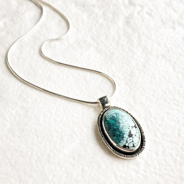Oval Turquoise Pendant with Textured Border, One of a Kind Hubei Turquoise Pendant