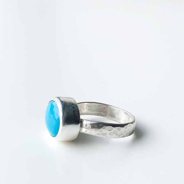 American Mined Turquoise and Silver Ring, Size 6.5