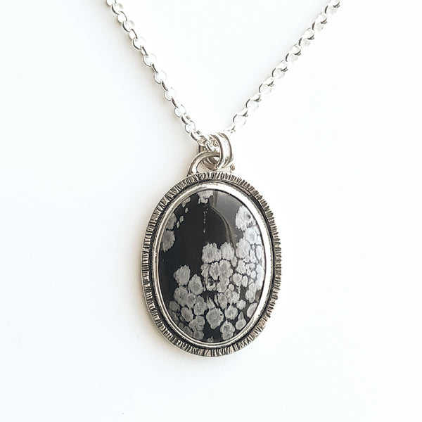 Winter Flowers Obsidian and Silver Pendant