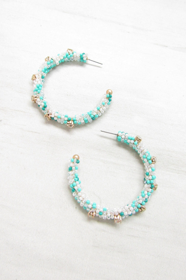 Beaded hoop earrings - Mint color