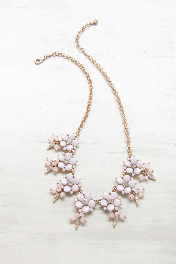 Pastel floral statement necklace -Lavender color