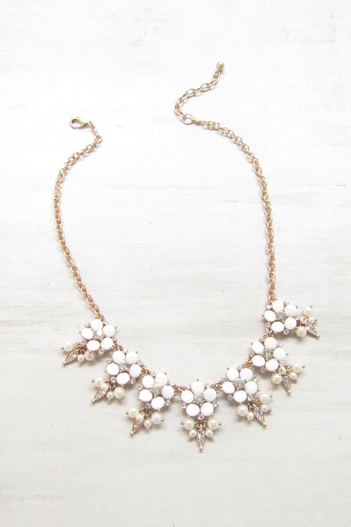 Pastel floral statement necklace - White color