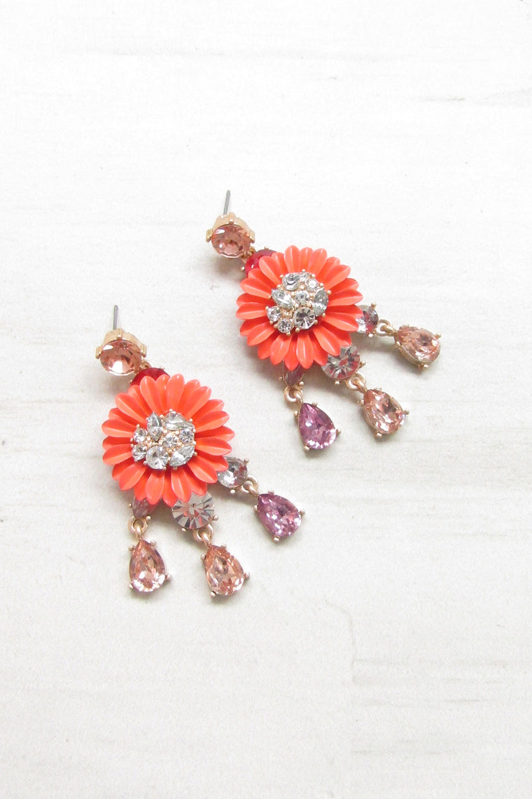 Floral drop earrings - Coral color