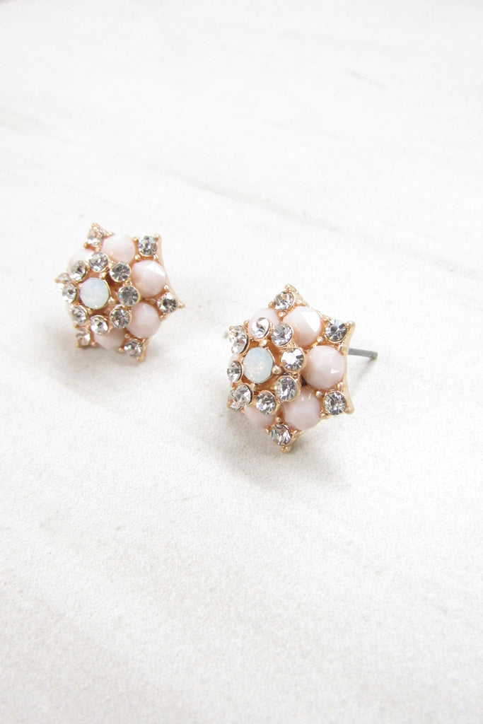 Floral post earrings - Champagne color