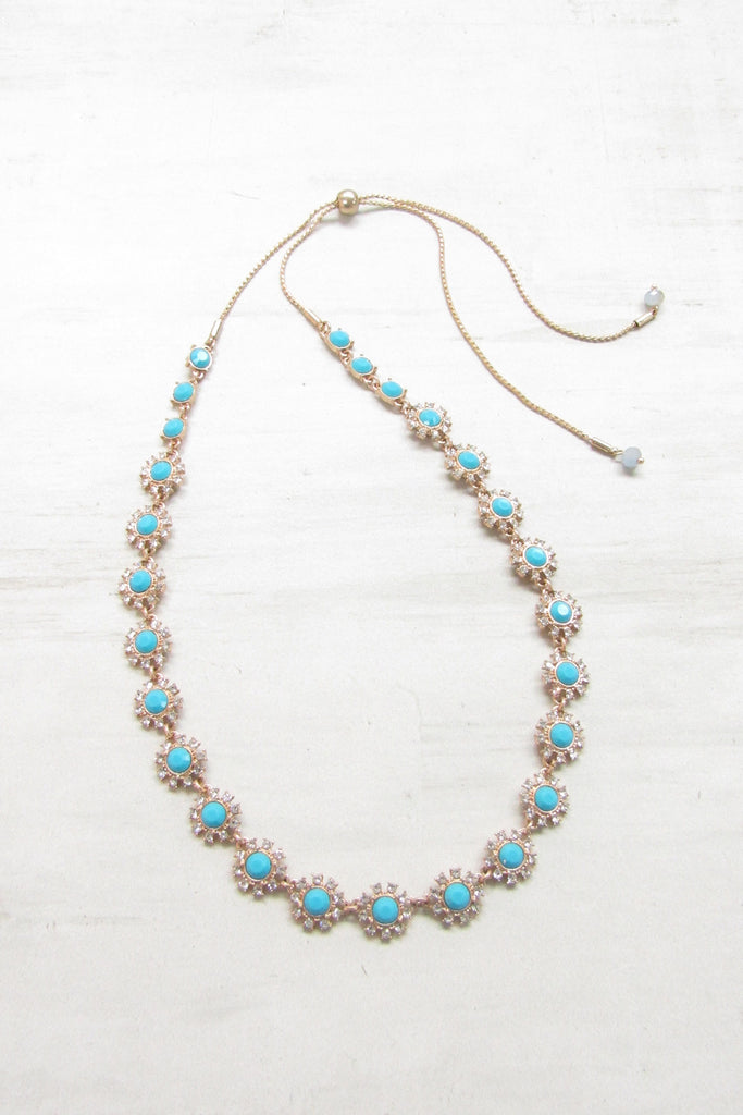 Adjustable necklace - Turquoise color