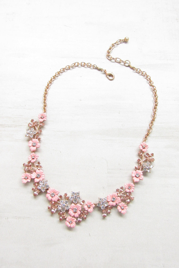 Blooming pink flowers statement necklace