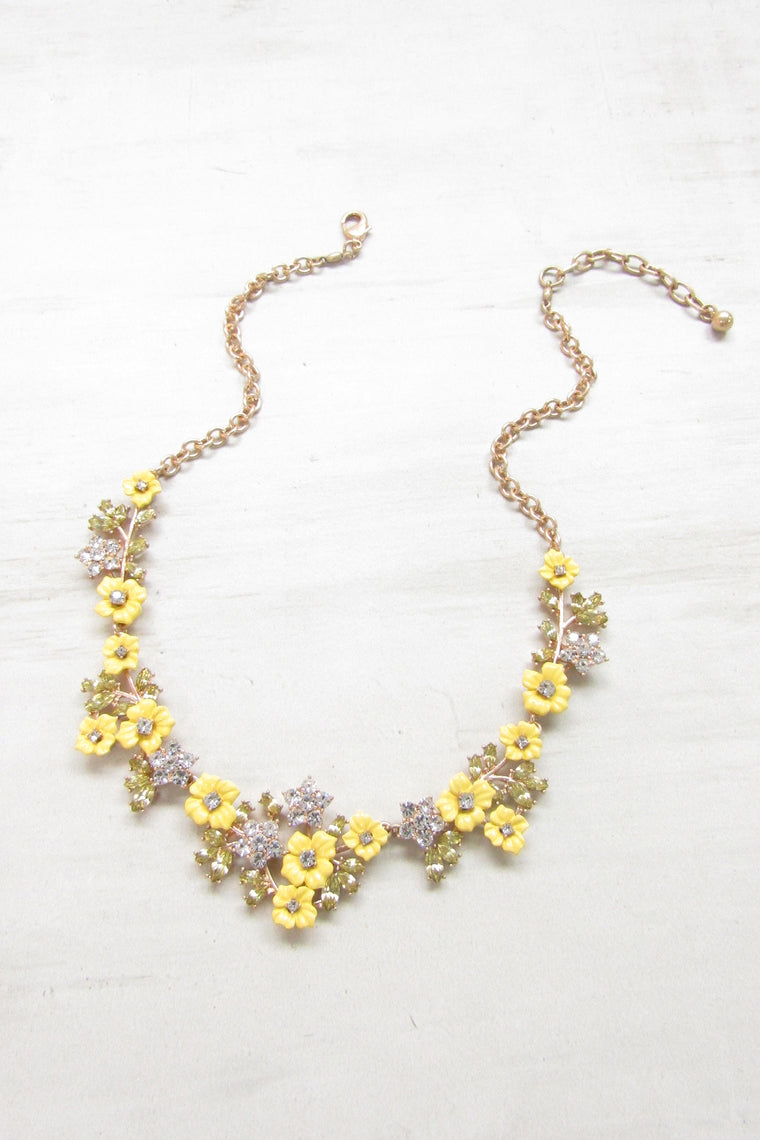 Blooming yellow flowers statement necklace
