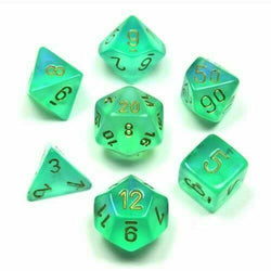Chessex 7-Die Polyhedral Set - Borealis  (Light green/Gold)