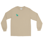 "Sand long sleeve tee with several angled emerald shards of variable shadowing and a caption saying ""Vibrant at the Highest Frequency Possible"" below the crystal all located on the top right breast of the shirt"