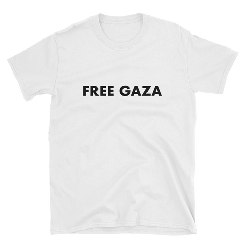 "White t-shirt that says ""Free Gaza"" in strong black font across the shirt's chest"