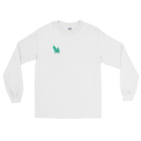 "White long sleeve tee with several angled emerald shards of variable shadowing and a caption saying ""Vibrant at the Highest Frequency Possible"" below the crystal all located on the top right breast of the shirt"