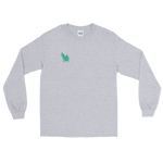 "Grey long sleeve tee with several angled emerald shards of variable shadowing and a caption saying ""Vibrant at the Highest Frequency Possible"" below the crystal all located on the top right breast of the shirt"
