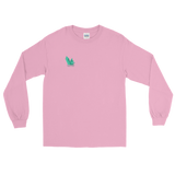 "Light pink long sleeve tee with several angled emerald shards of variable shadowing and a caption saying ""Vibrant at the Highest Frequency Possible"" below the crystal all located on the top right breast of the shirt"