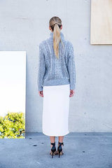 White Angle Midi Skirt & Grey Knit
