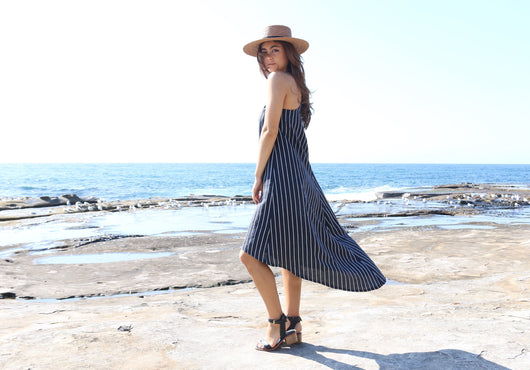 Navy & White Linen Maxi Dress