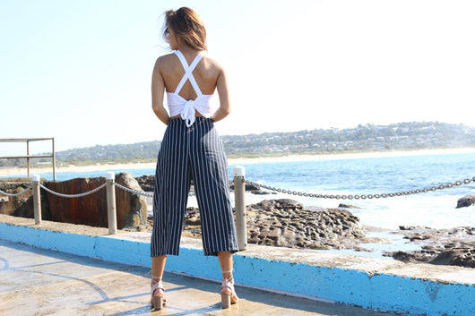 Navy & White Linen Culottes