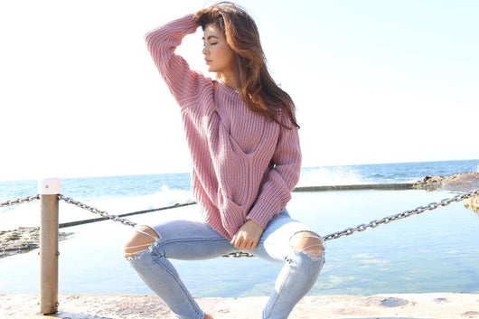 Dusky Pink Wool Twist Knit