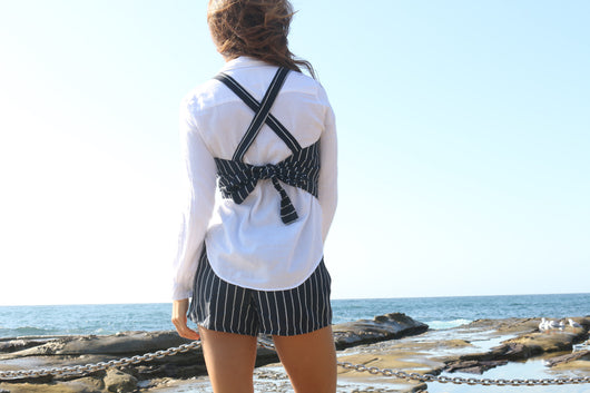 Navy & White Linen Harness Top
