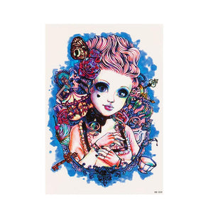 Vintage Large Temporary Tattoo Lady Color