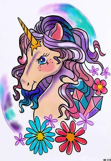 Large Unicorn Watercolor Temporary Tattoo